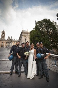Italian Police with a newly wed bride